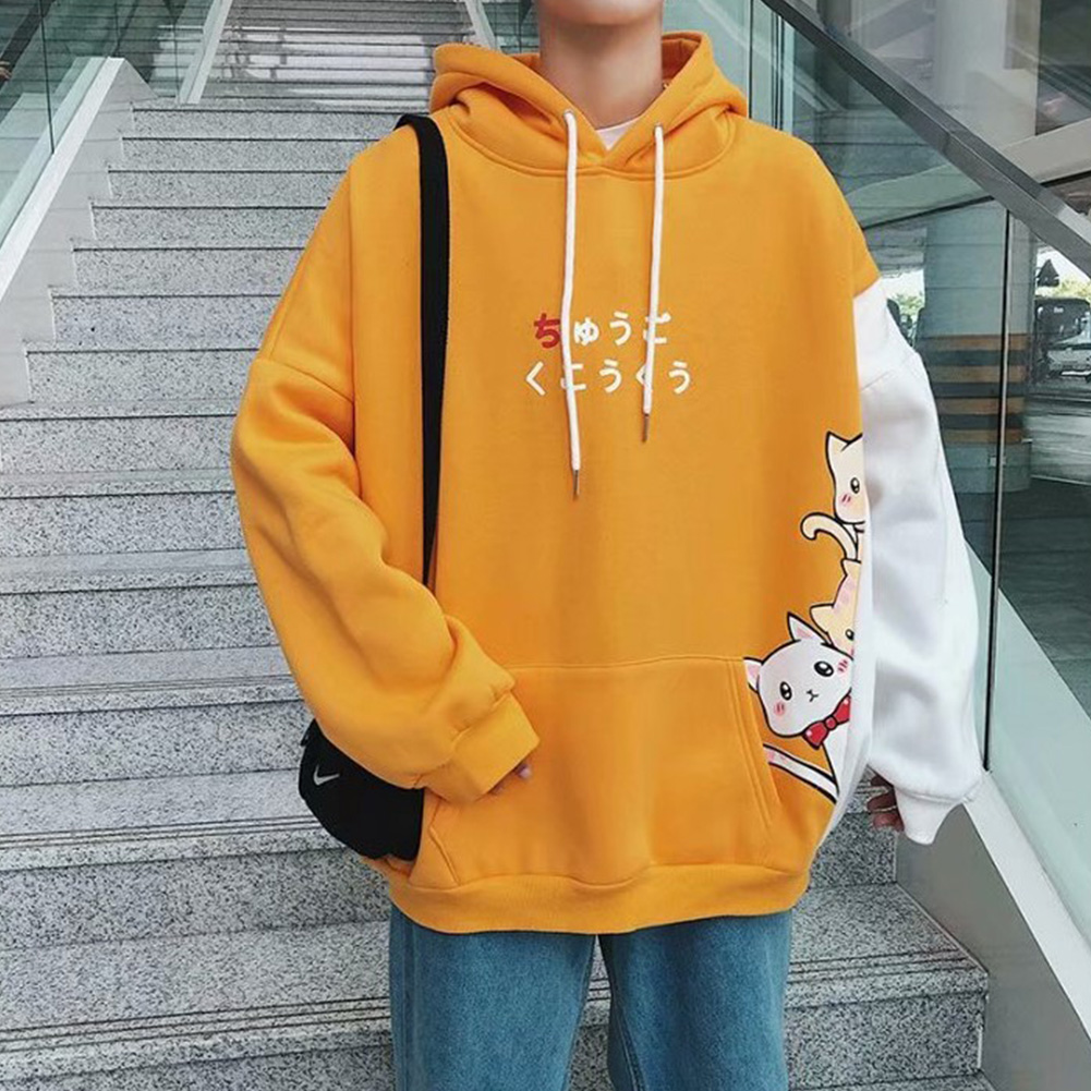 Leisure Sweater with Cartoon Pattern Printed Loose Pullover Shirt for Man yellow_M