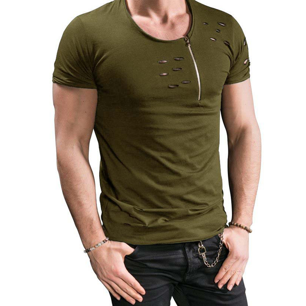 Men Slim Fit O-Neck Ripped Short Sleeve Muscle Tee T-shirt ArmyGreen_XL