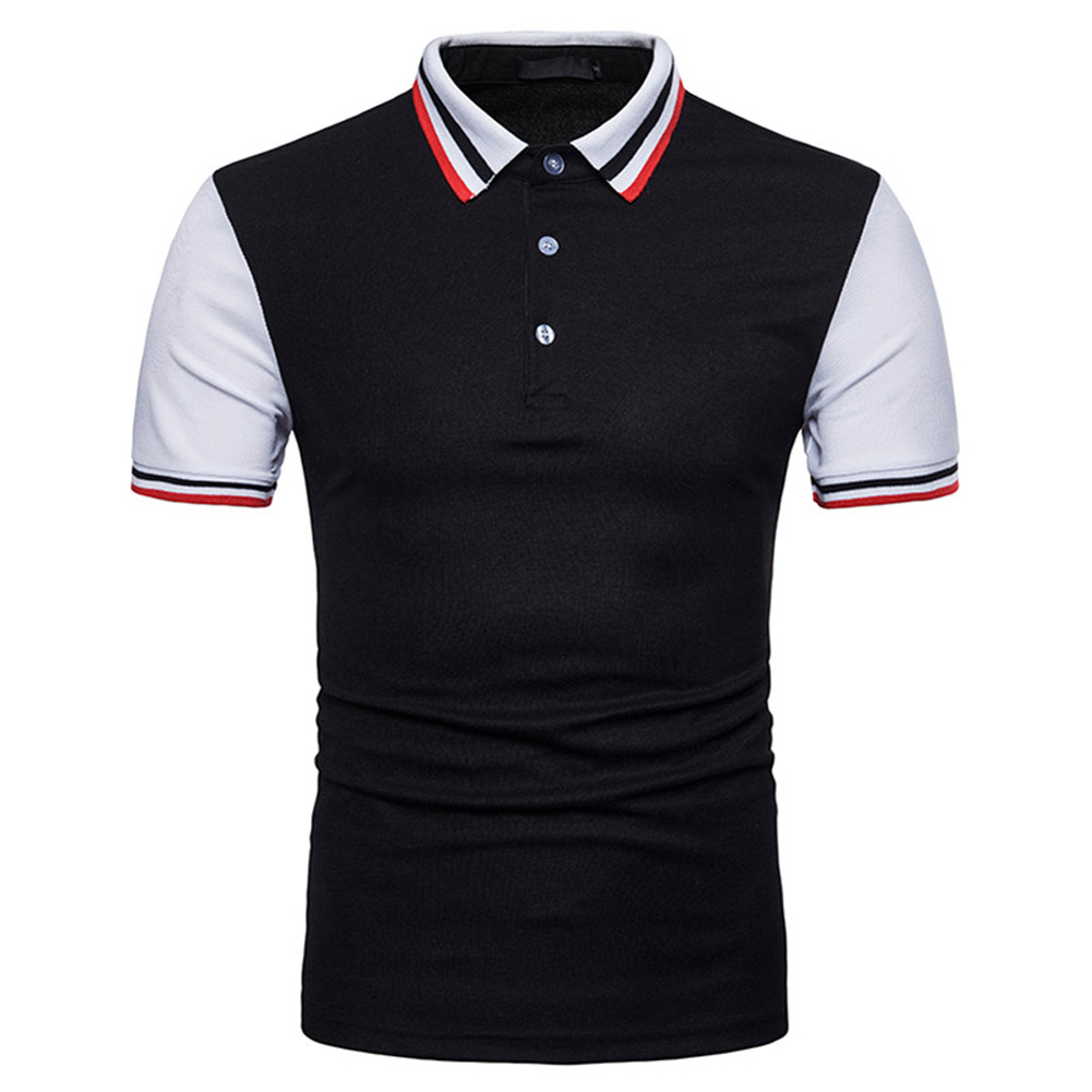 Men Summer Fashion Threaded Collar Short Sleeve POLO Shirt Tops black_L