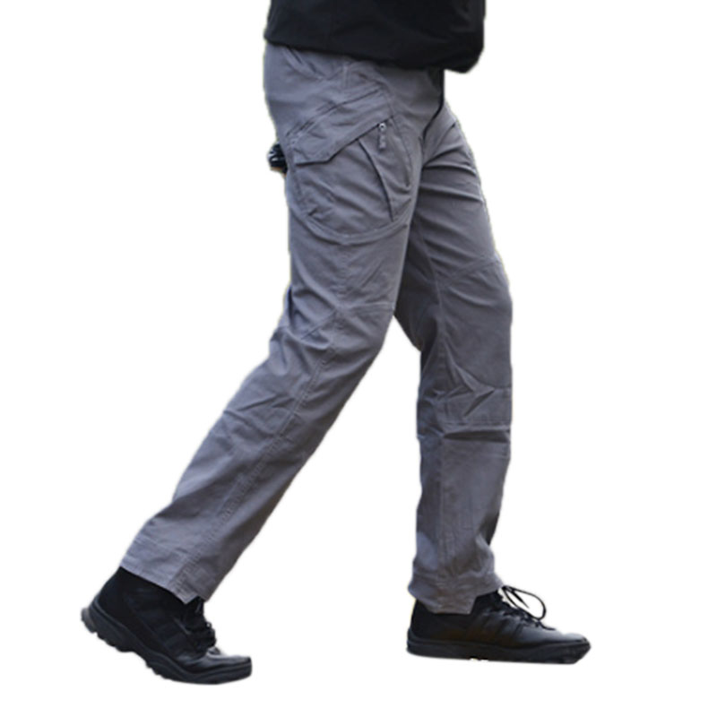 Men Outdoor Military Fan Multi-pockets Pant Breathable Cotton Casual Pants gray_S