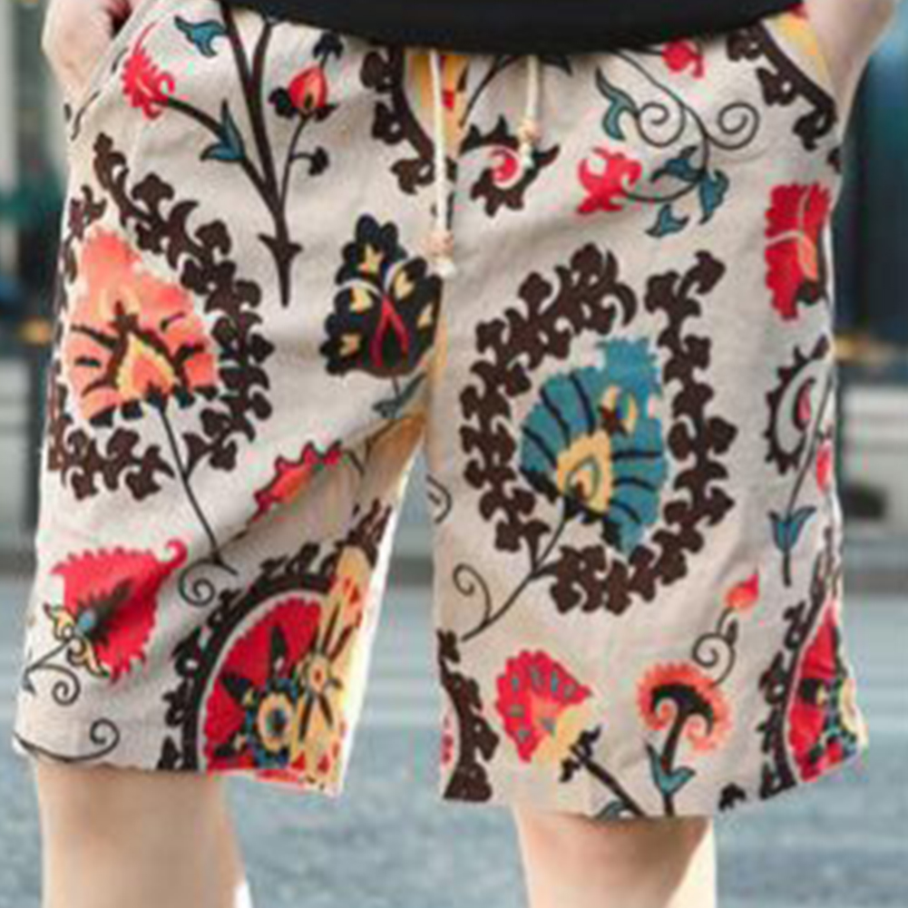 Men Summer Print Hawaii Loose Drawstring Short Pants Casual Beach Shorts   A_L