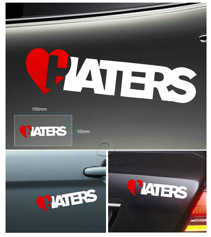 Fashion HATERS Letters Car Reflective Decals Decoration