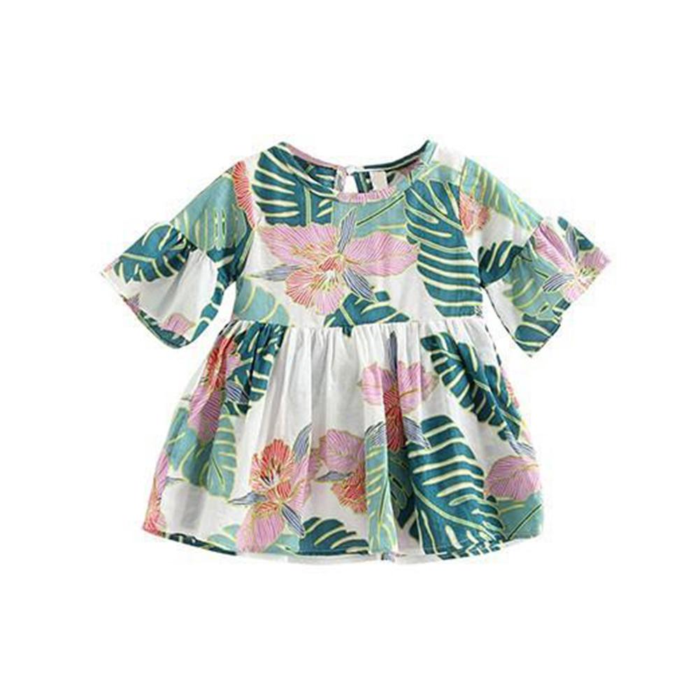 Kids Girls Mandarin Sleeve Floral Printing Beach Dress