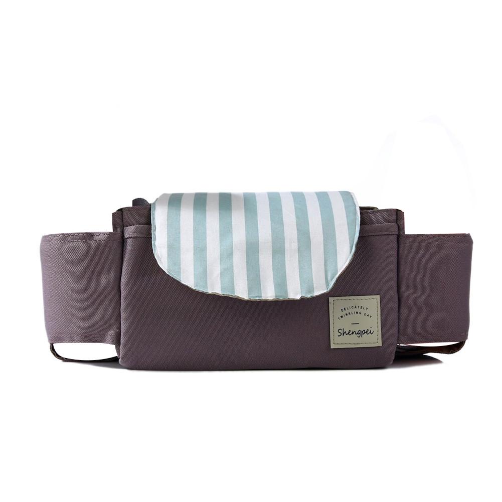 Baby Stroller Cute Pattern Muti-function Storage Basket Trolley Parts Mint stripes_350*120*120