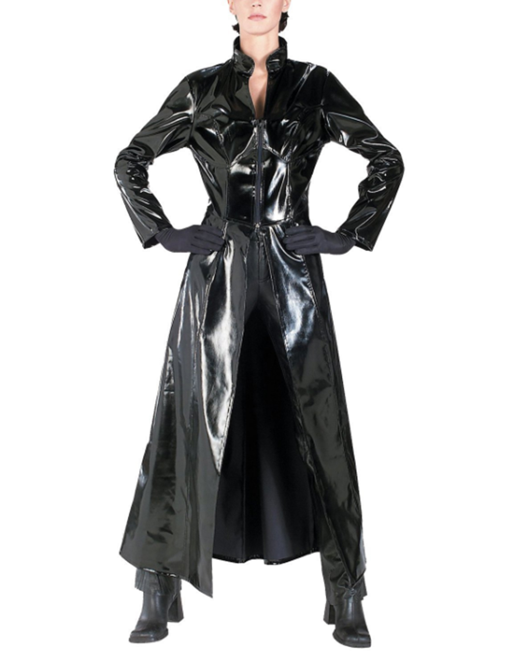 Unisex PVC Leather Matrix Coat Sexy Reloaded Trinity Reloaded Long Bodysuit Halloween Cosplay Adult Costume Black_S