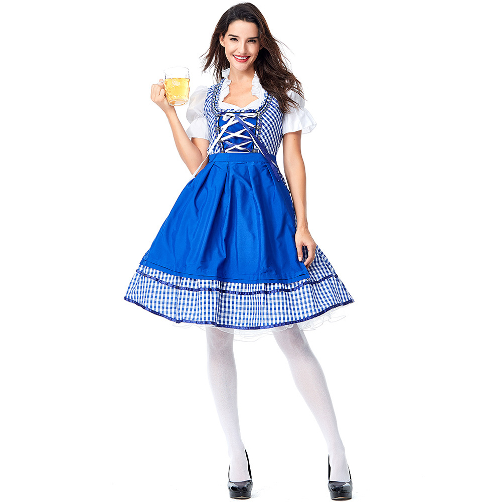 Female Maid Dress Blue Plaid Custome Cosplay Dirndl for Beer Festival Halloween Carnival Clothes Blue plaid_L
