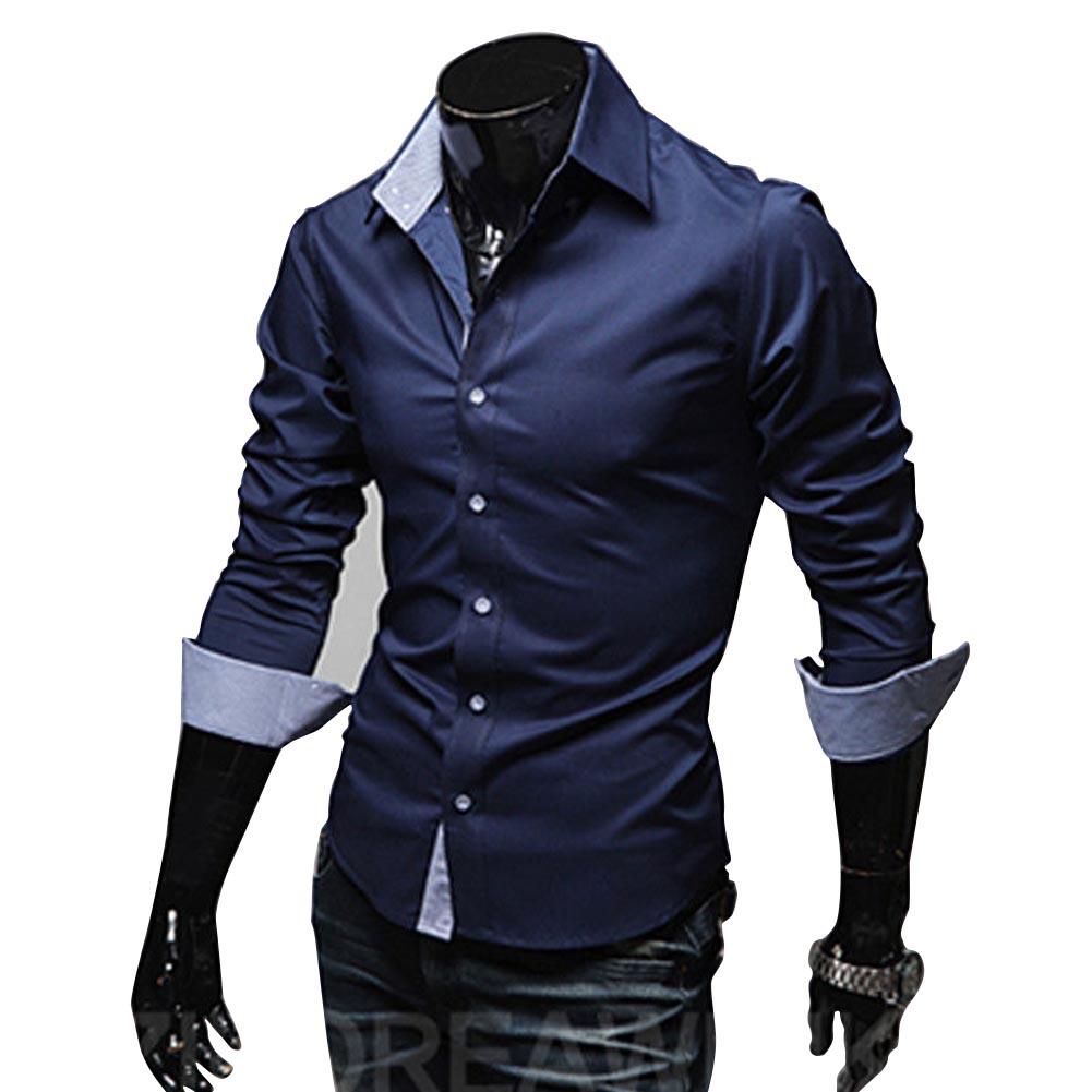 Men Fashion Casual Solid Color Long Sleeve Slim Shirts  Navy blue_XL