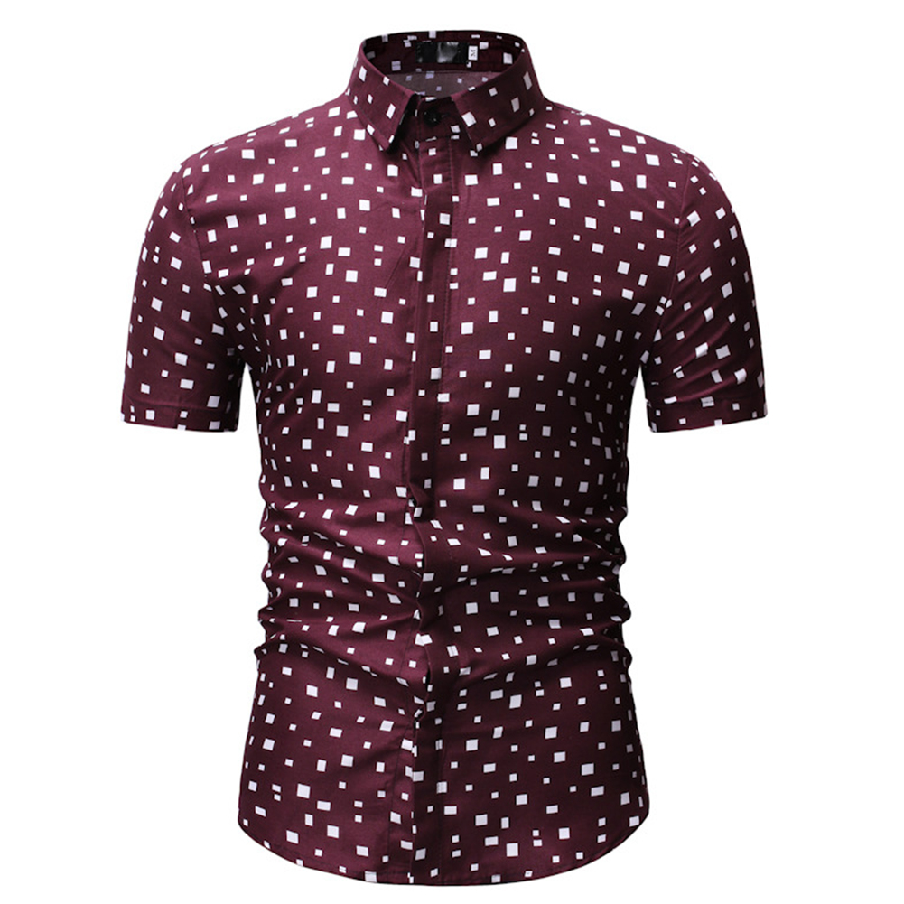Men Printing Shirts Short Sleeve Cotton Square Collar Brethable Tops  red_M