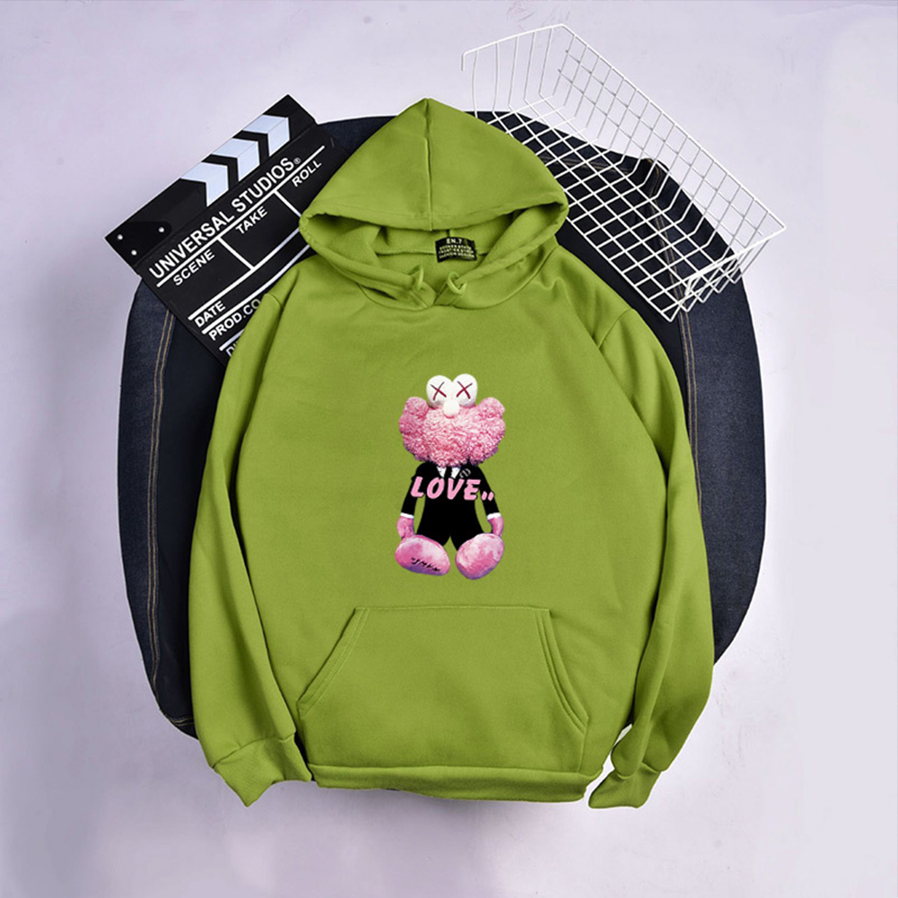 KAWS Men Women Hoodie Sweatshirt Love Bear Cartoon Thicken Autumn Winter Loose Pullover Green_XL
