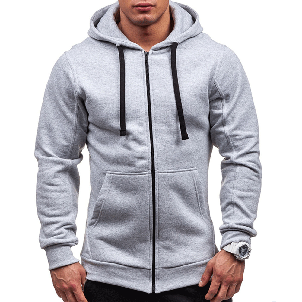 Men Warm Solid Color Zipper Slim Fleeced Hooded Sweatshirt light gray_M