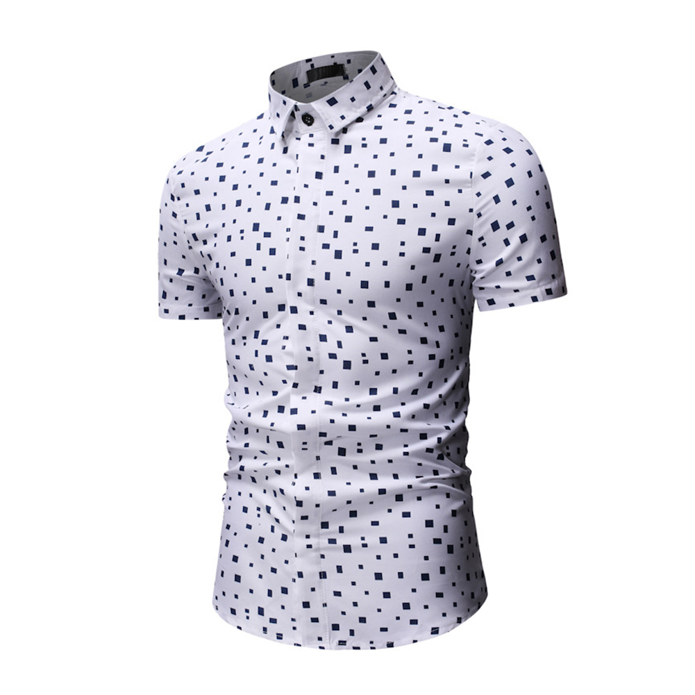 Men Printing Shirts Short Sleeve Cotton Square Collar Brethable Tops  white_M