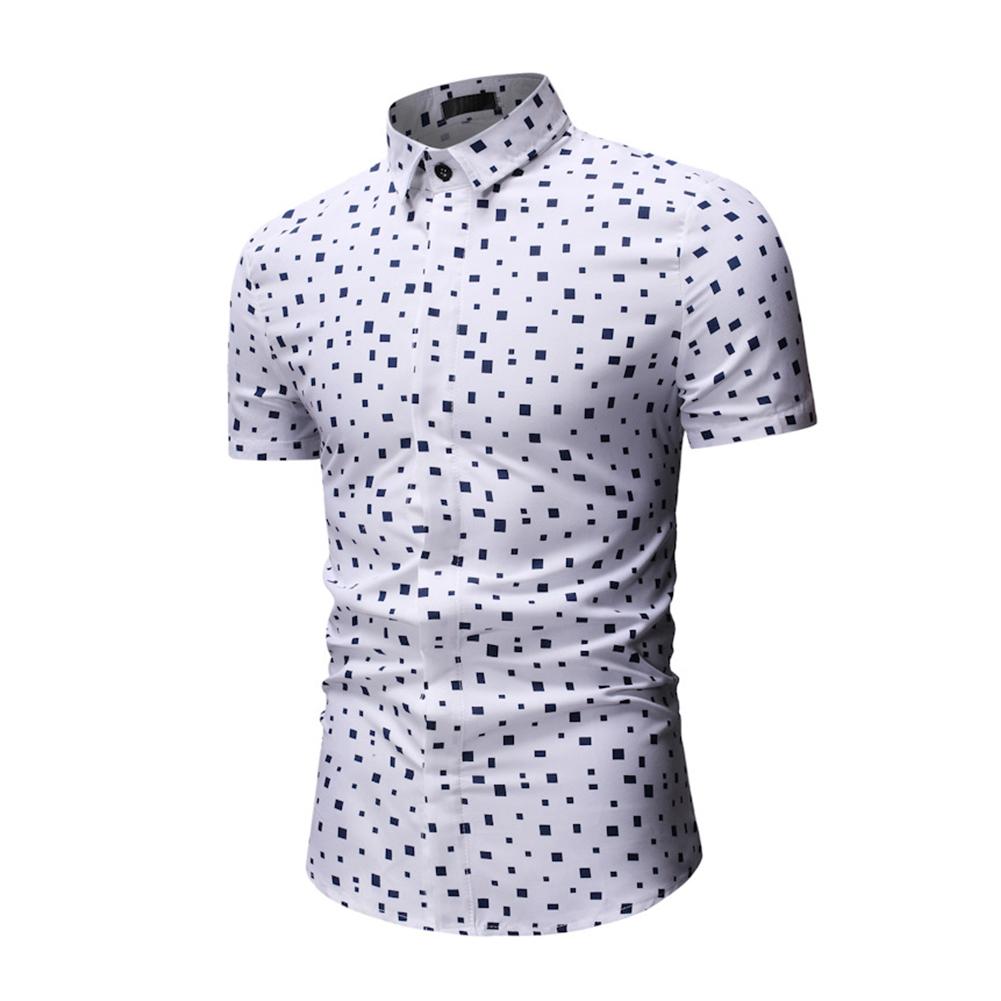 Men Printing Shirts Short Sleeve Cotton Square Collar Brethable Tops  white_XL