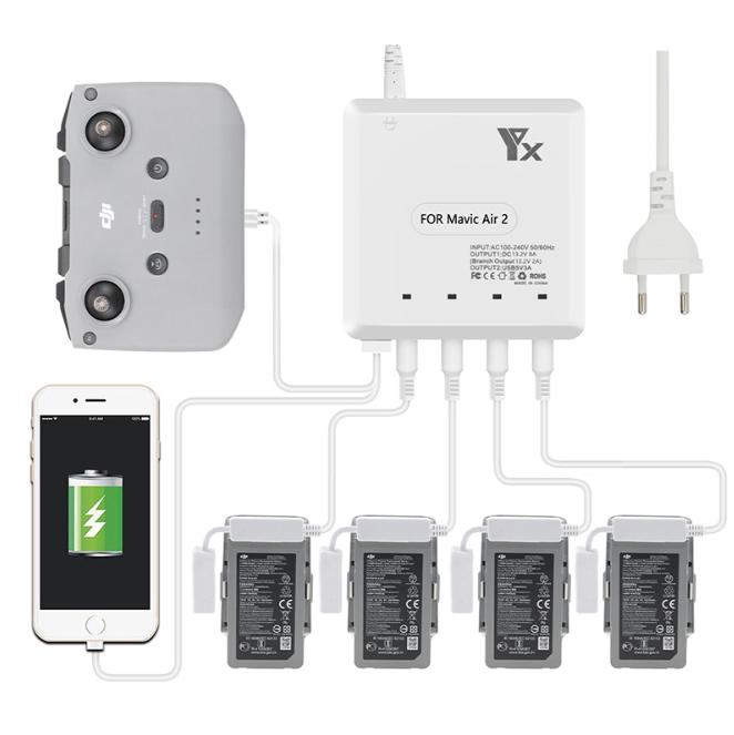 Battery Charger for Mavic Air 2 Intelligent Fast Charging Hub AC 100-240V for DJI Mavic Air2 Flight Battery European plug