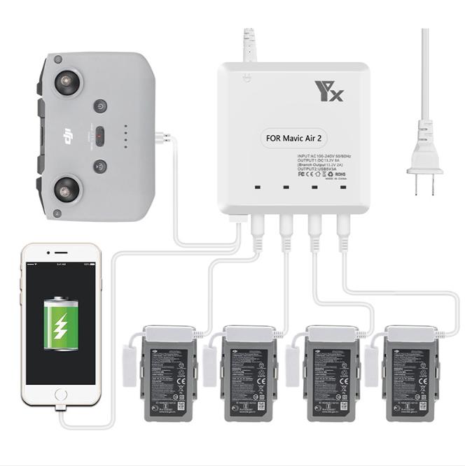 Battery Charger for Mavic Air 2 Intelligent Fast Charging Hub AC 100-240V for DJI Mavic Air2 Flight Battery U.S. plug