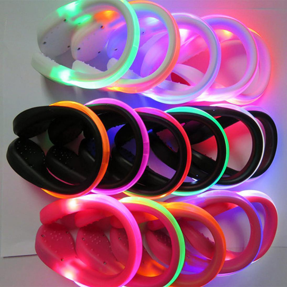 Night LED Luminous Running Bicycling Warning Marking Shoe Lamp Group Running Team Label Shoe Clip Light Pink light Pink shell