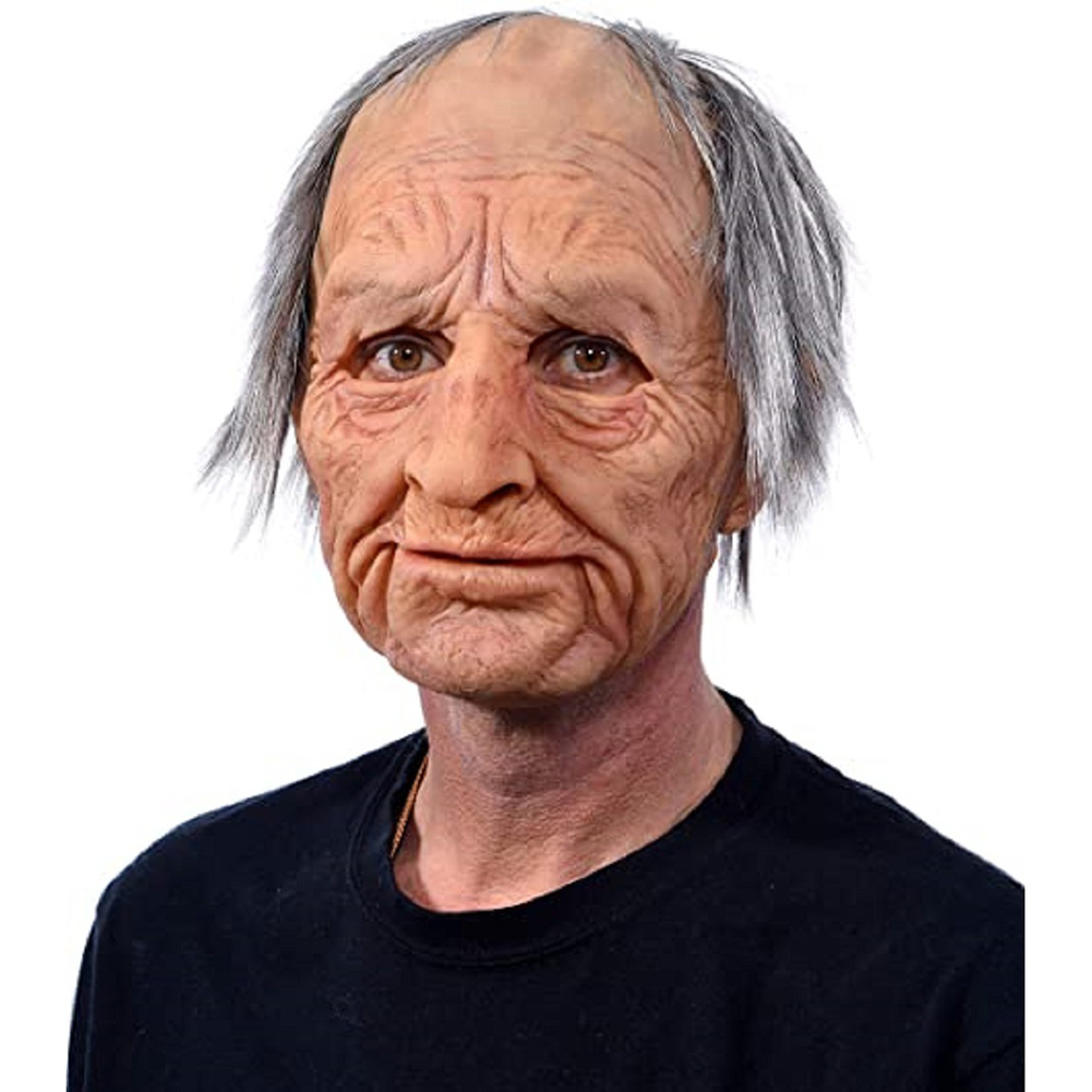 Old Man Mask Moving Mouth Headgear for Halloween Party Performance Prop Grandpa