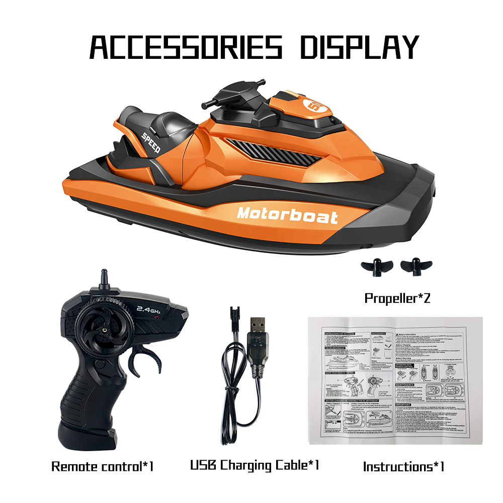 2.4G Remote Control Boat Motor Speed Boat High Speed Yacht Model Electric Toy Boat Water Summer Toy Orange