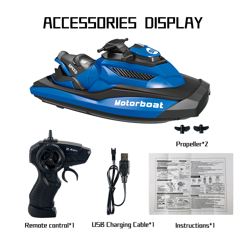 2.4G Remote Control Boat Motor Speed Boat High Speed Yacht Model Electric Toy Boat Water Summer Toy blue