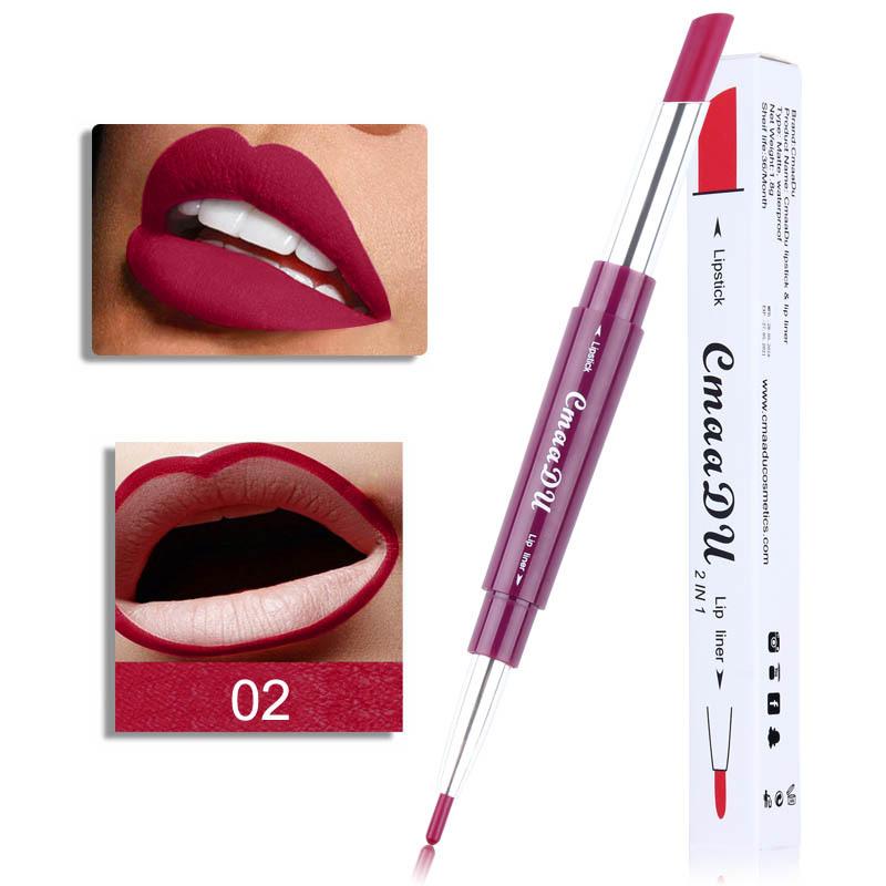 Double Head Lipstick Lip Liner Pen Waterproof Long-lasting Lip Liner Contour Pen  02