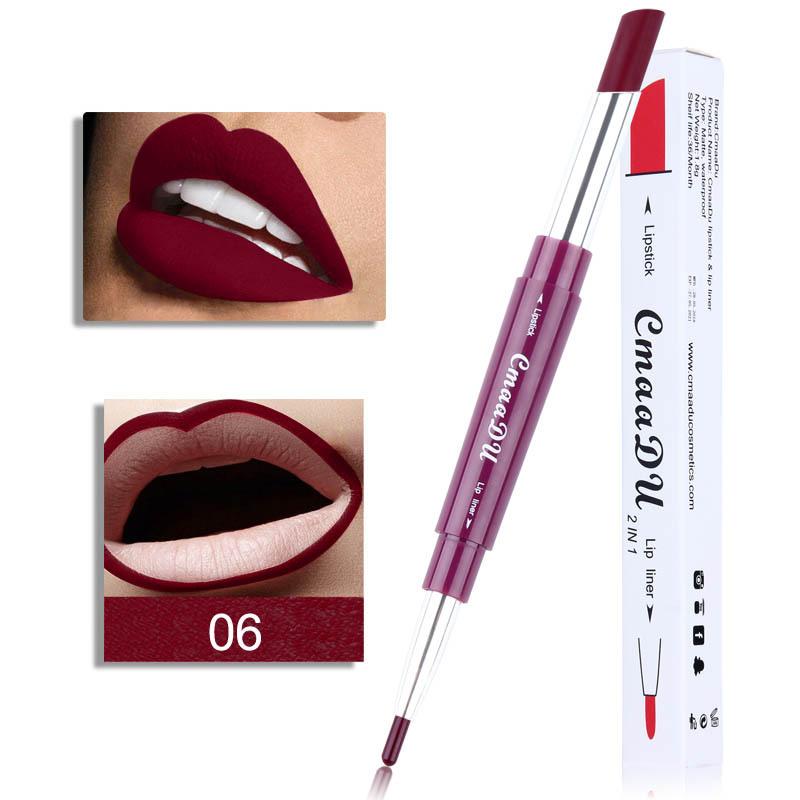 Double Head Lipstick Lip Liner Pen Waterproof Long-lasting Lip Liner Contour Pen  06