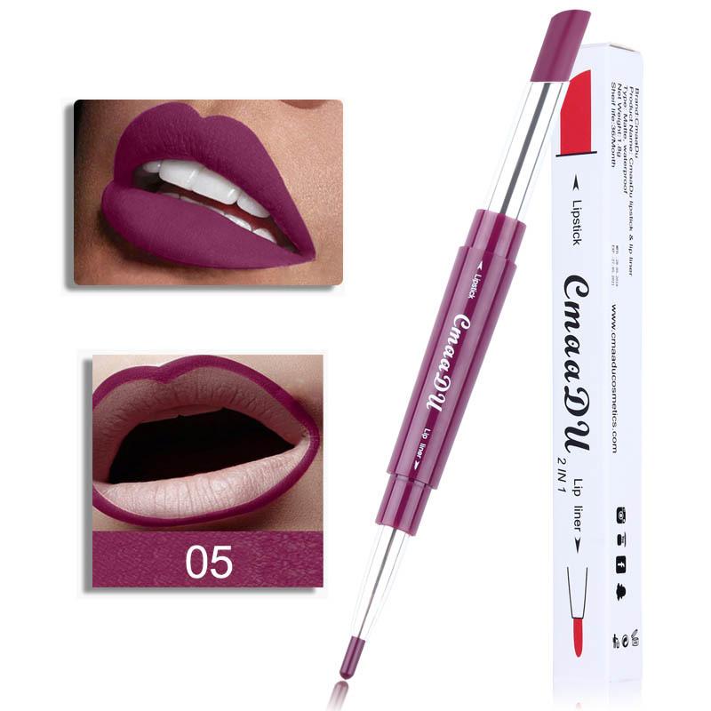 Double Head Lipstick Lip Liner Pen Waterproof Long-lasting Lip Liner Contour Pen  05