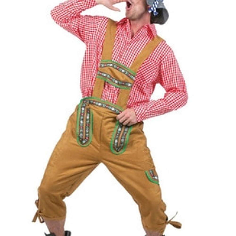 Oktoberfest Plaid Pattern Shirt Suspender Trousers Hat Halloween Role Play Costume red_XL