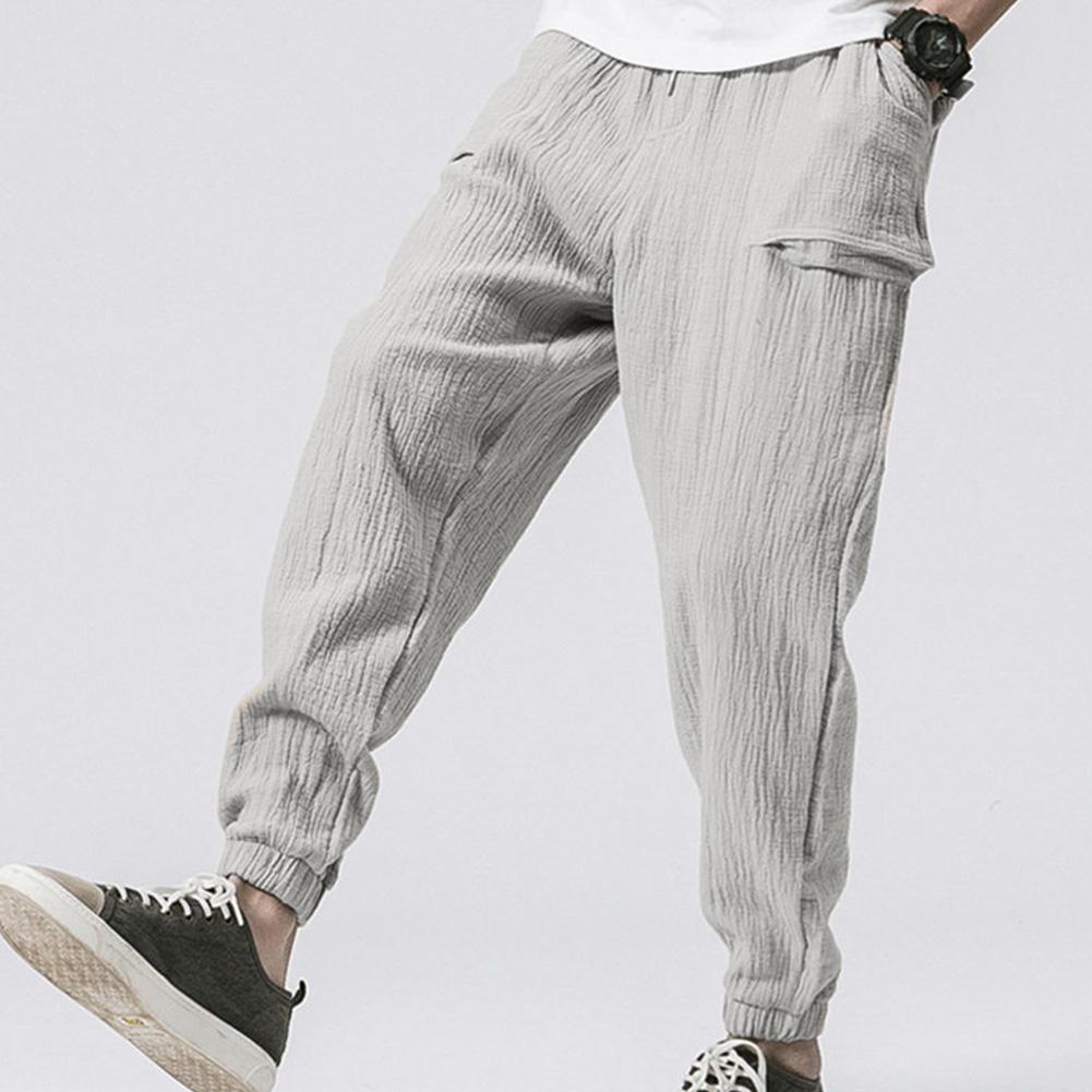 Men Leisure Pants Double Wrinkle Pants Large Size Slim Casual Trousers gray_L