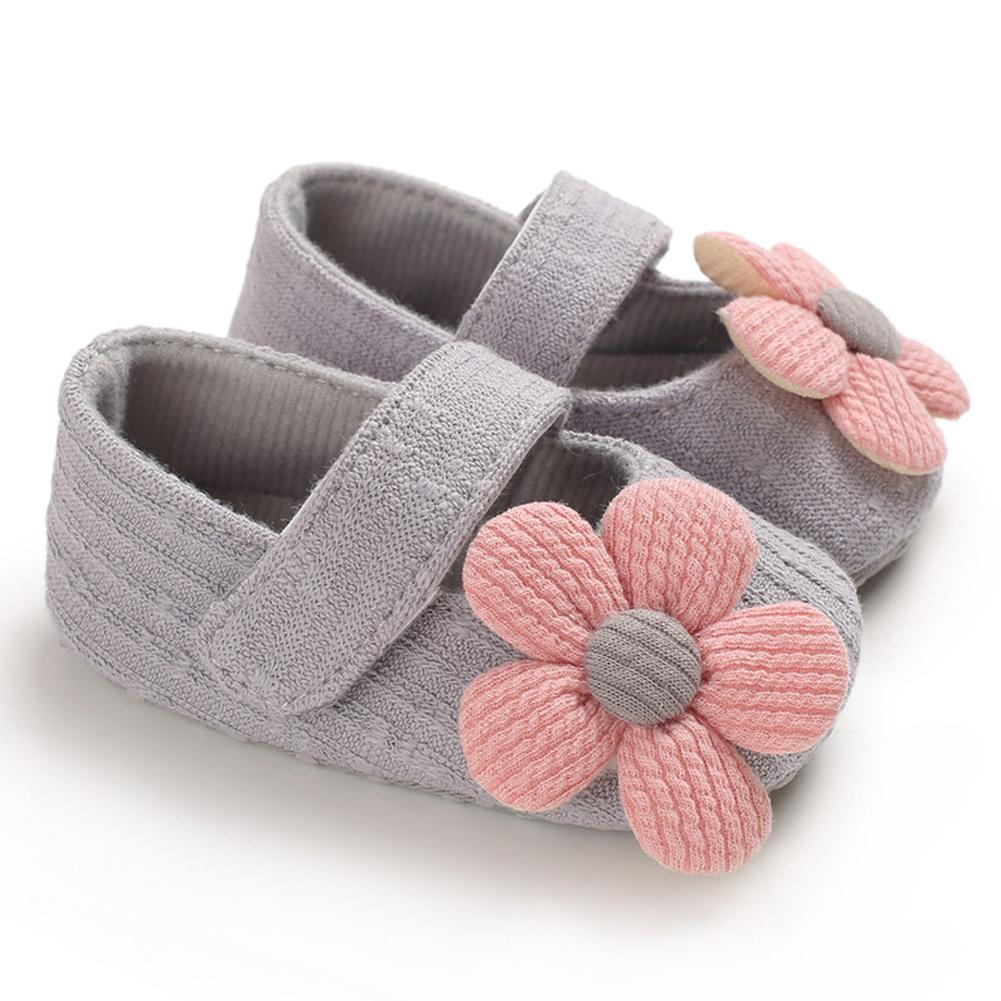 Cute Flower Soft Sole Non-Slip Prewalker Princess Shoes for Kids Baby Toddler Girls gray_Inside length 11 cm