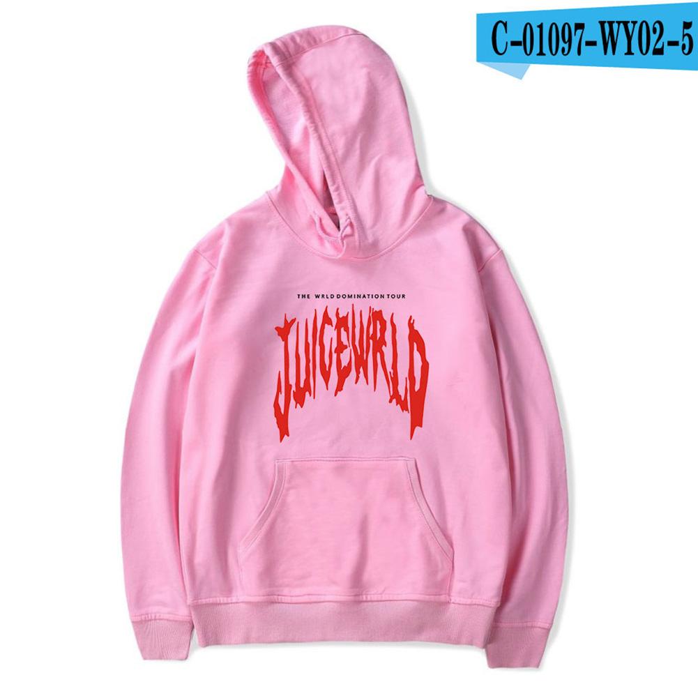 Men Women Juice WRLD Hoodie Sweatshirt Letter Printing Autumn Winter Loose Pullover Tops Pink_XXXL