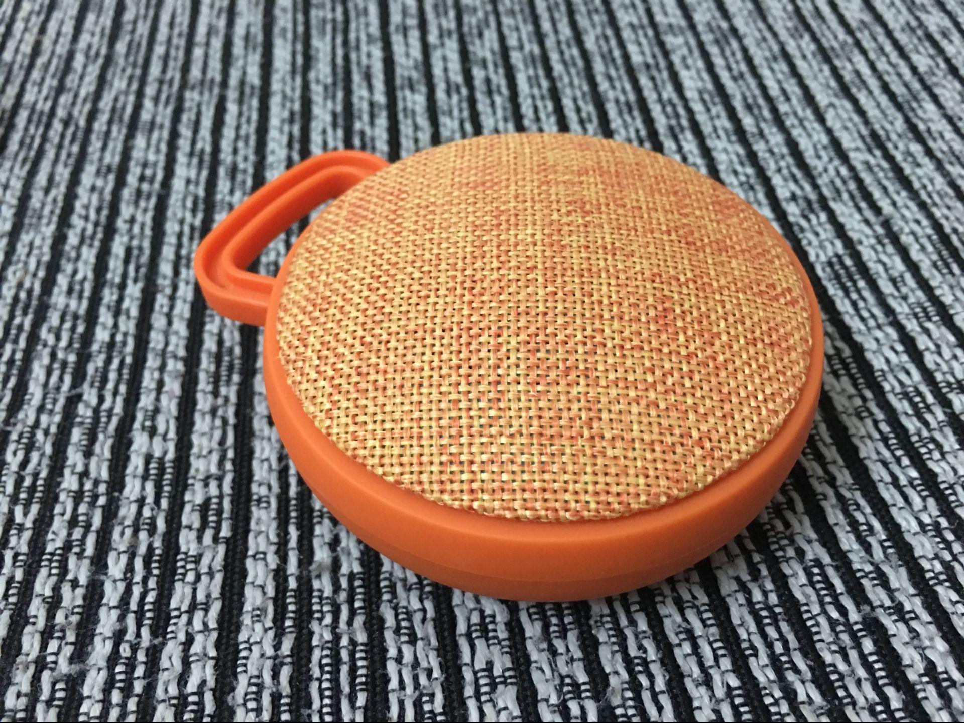 Unique Chic Circular Fabric Art Speaker Wireless Bluetooth Portable Hook Subwoofer  Orange