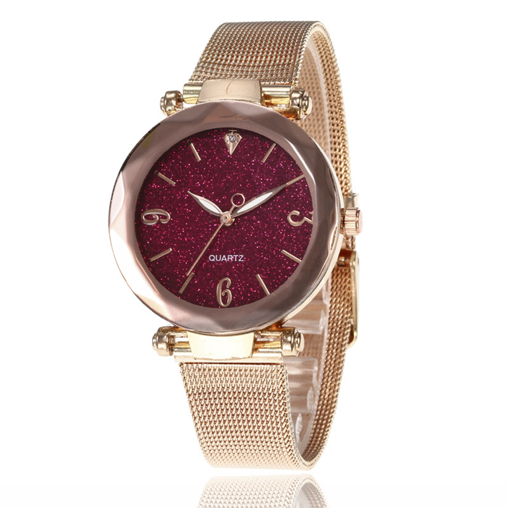 Women Fashion  Quartz Wrist Watch Stainless Steel Strap Buckle and Watchcase Watch Crimson