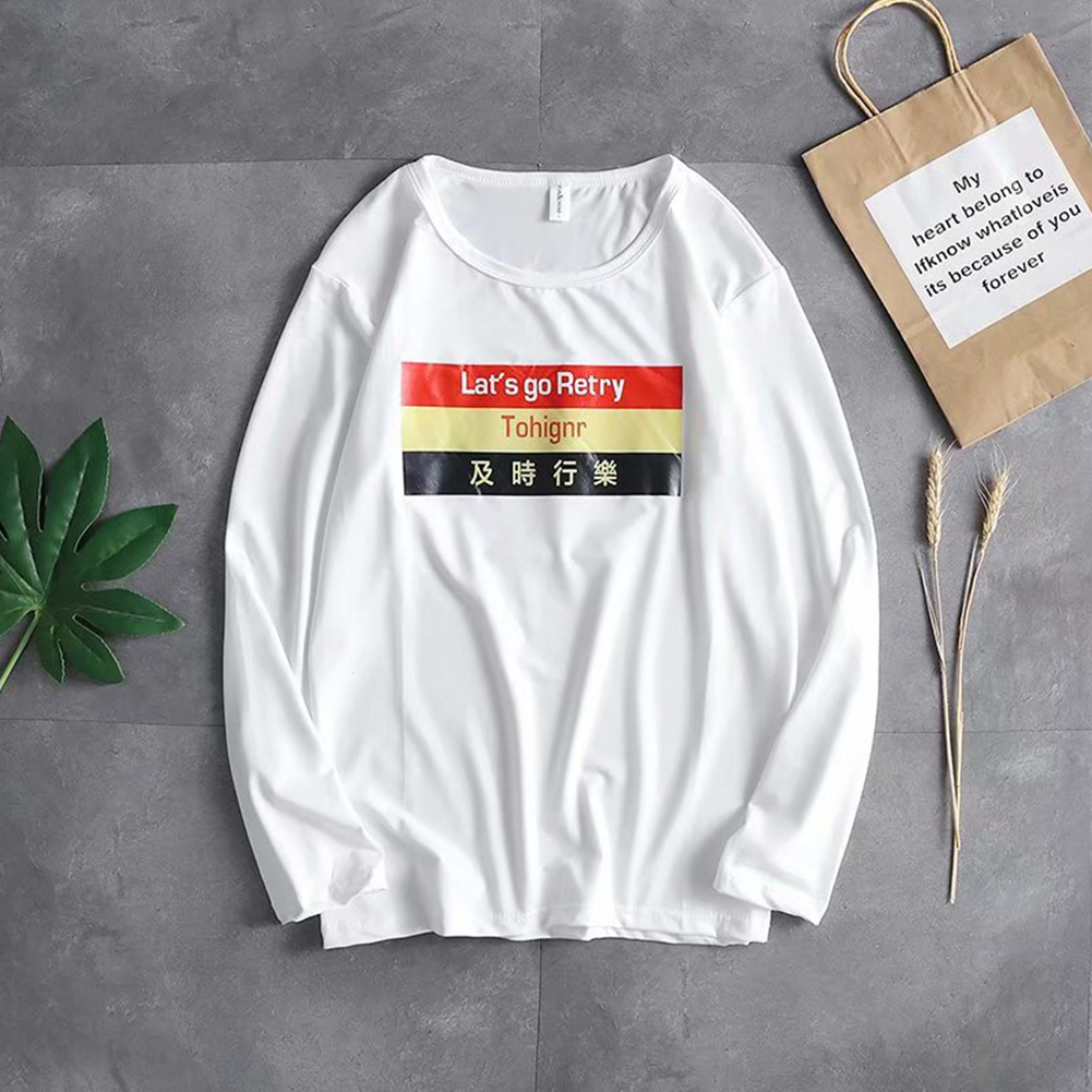 Casual Sweater with Letters Decor Round Neck and Long Sleeves Loose Pullover for Man 748 white_L