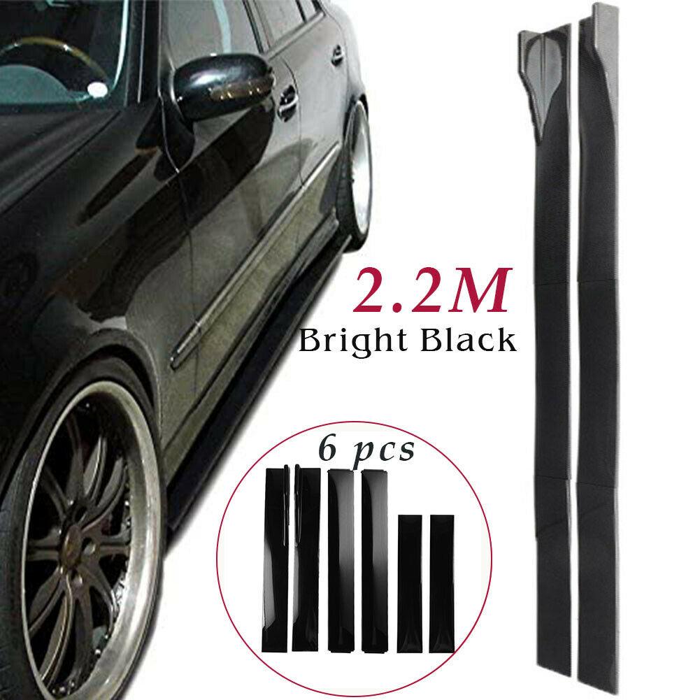 6pcs/set Universal Car Side Skirt Extension Rocker Panel Body Kit Lip Splitters Bright black
