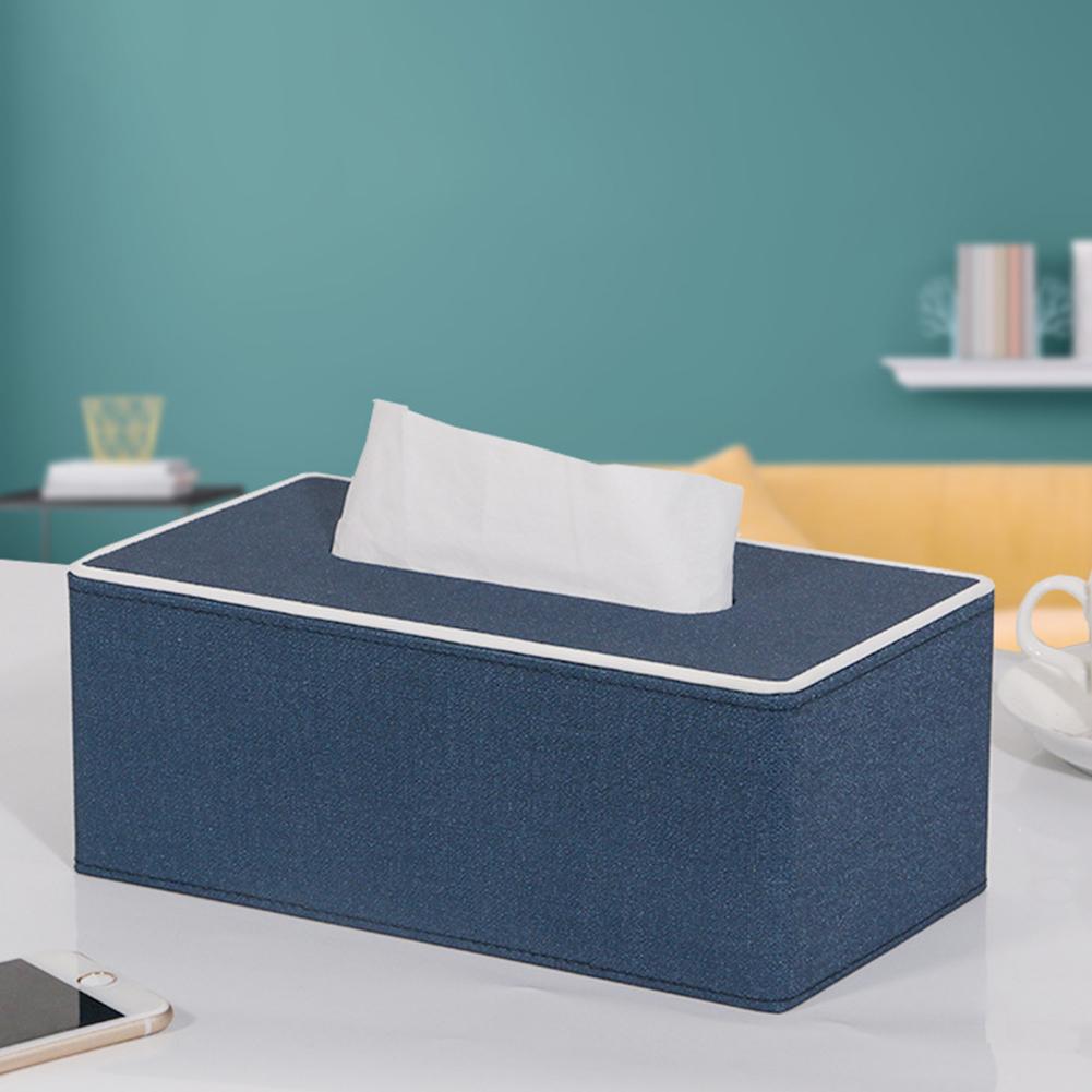 Leather Density Board Tissue Box Napkin Holder Home Tabletop Organize purplish blue L