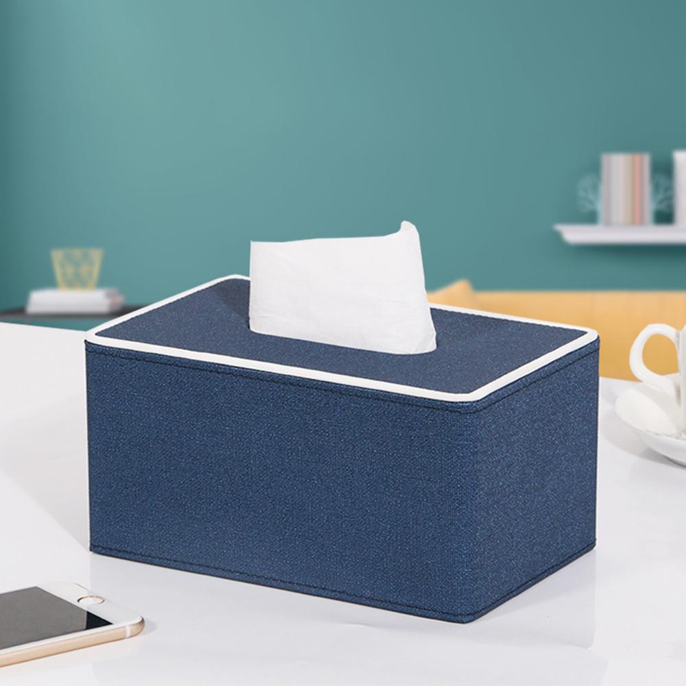 Leather Density Board Tissue Box Napkin Holder Home Tabletop Organize purplish blue S