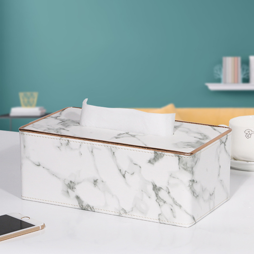 Leather Density Board Tissue Box Napkin Holder Home Tabletop Organize White marble L