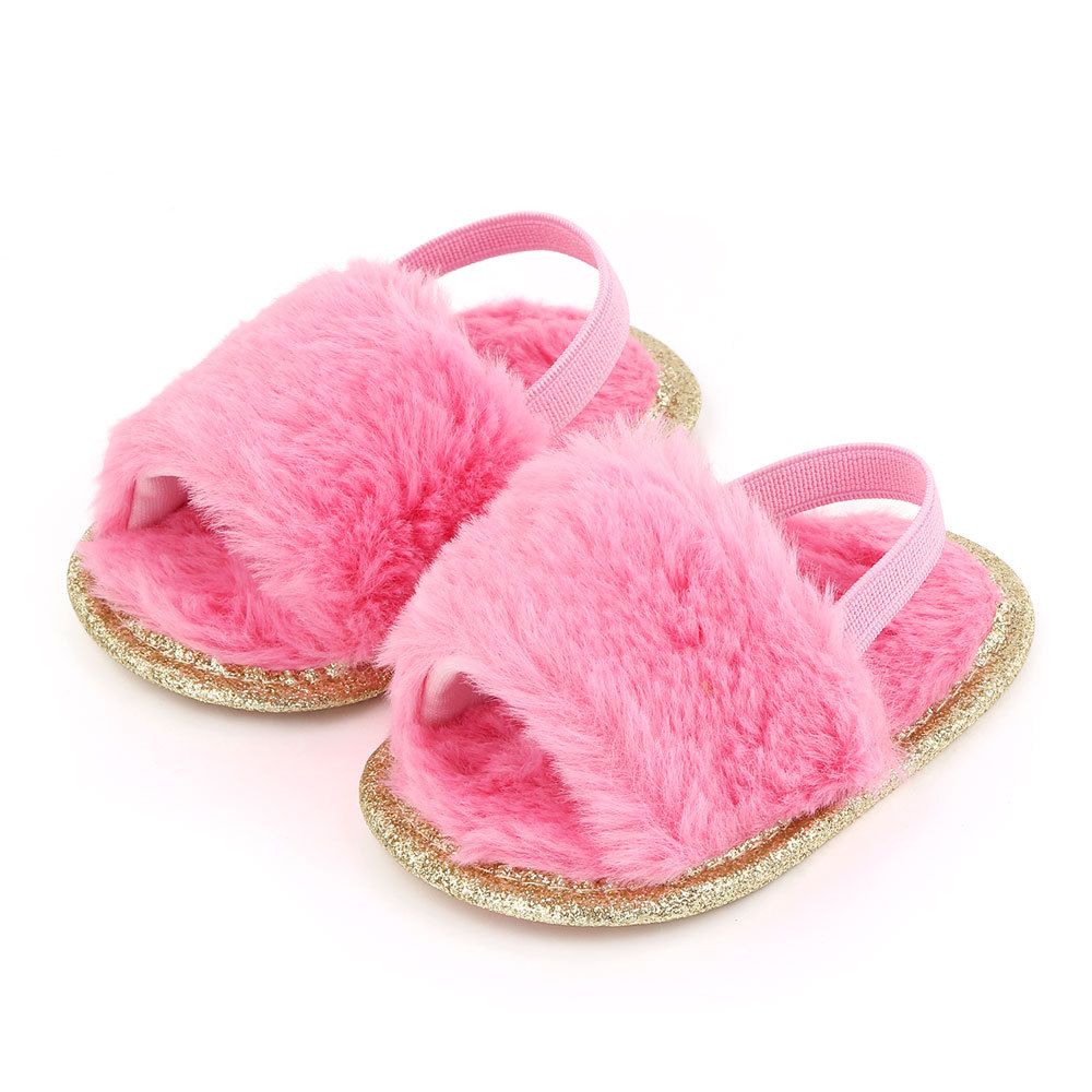 Baby Soft Shoes Soft-soled Glitter Cloth Bottom Toddler Shoes for 0-1 Year Old Baby rose Red_11cm