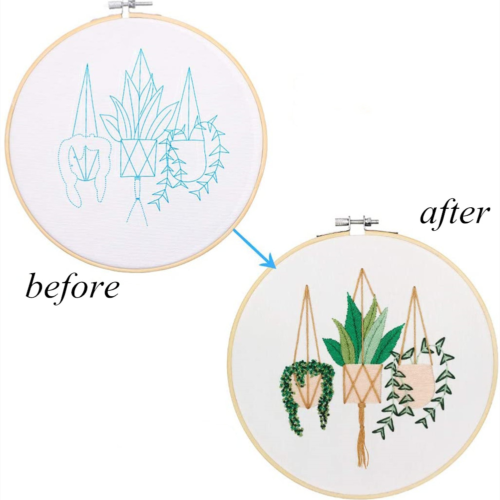 DIY Stamped Embroidery Starter Kit with Flowers Plants Pattern Embroidery Cloth Color Threads Tools Kit 30 * 30cm