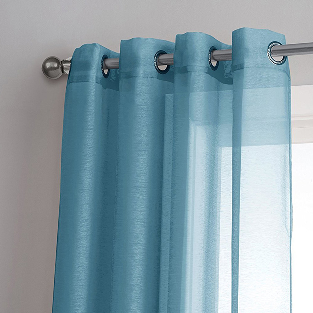 Semitransparent Solid Color Curtain with Grommet for Living Room Home Decoration