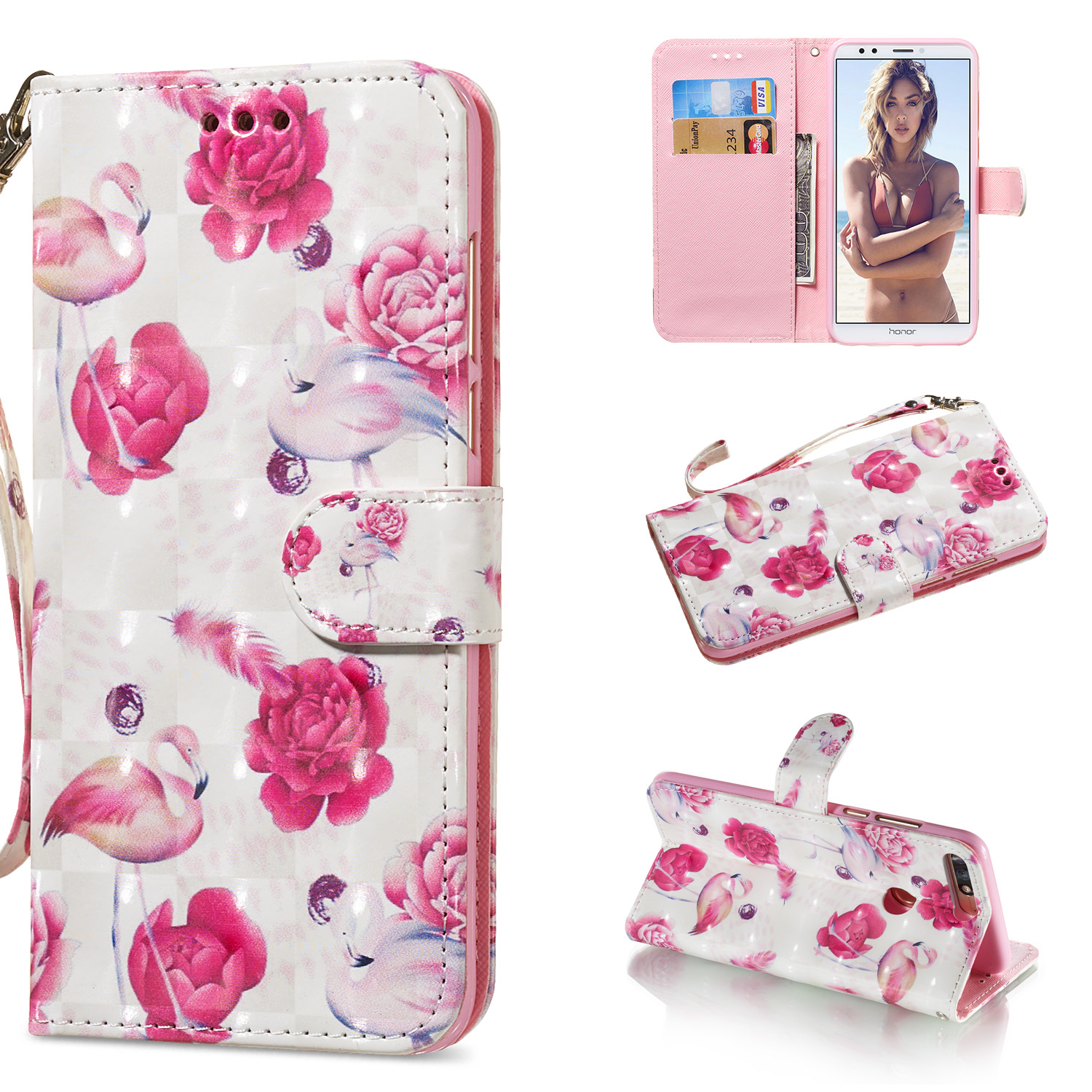 For HUAWEI honor 7C / Enjoy 8/Y7PRIME 2018/Y7 PRO 2018/NOVA2 LITE 3D Coloured Painted PU Magnetic Clasp Phone Case with Card Slots Bracket Lanyard Flamingo