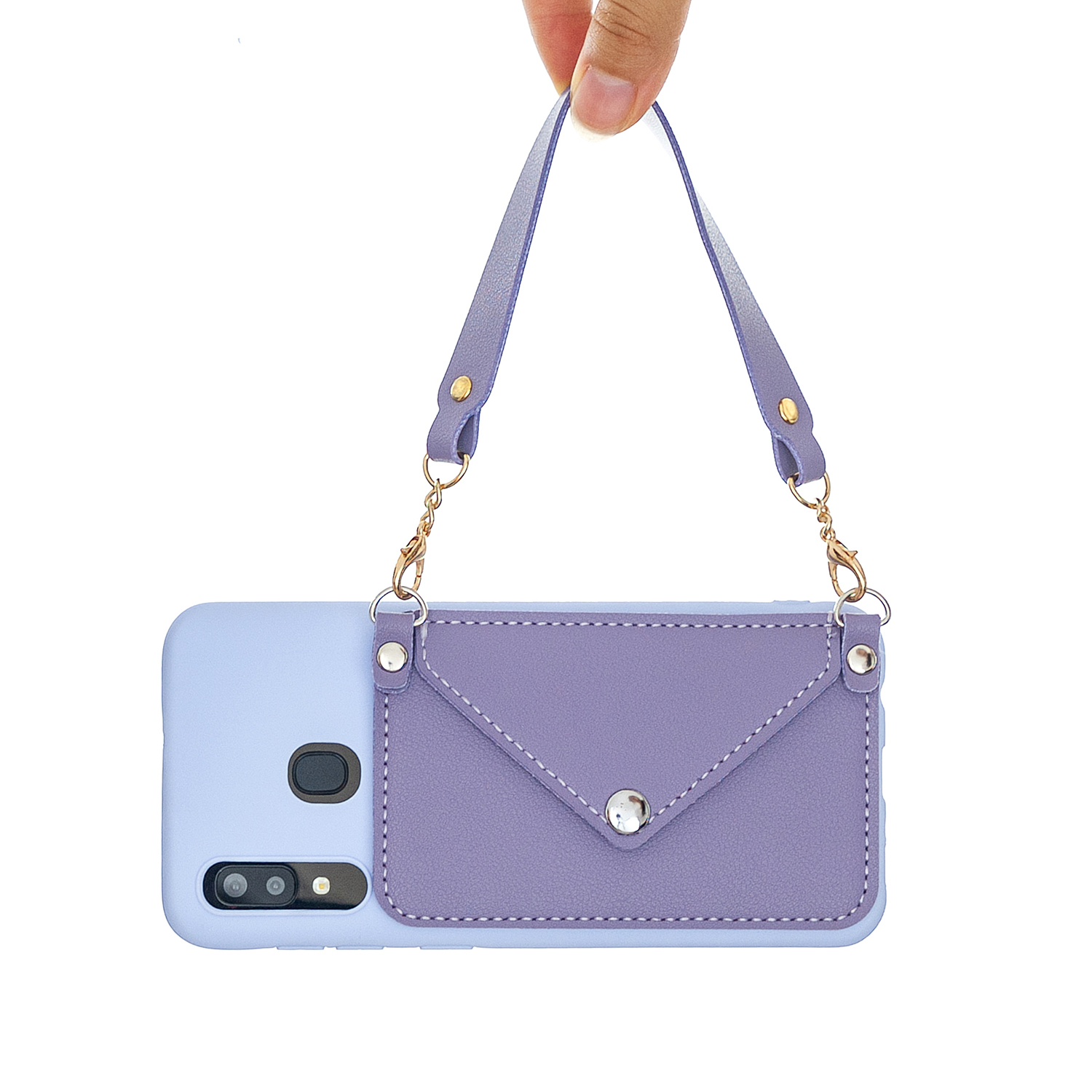 For HUAWEI Y5 2018/2019/Y6 2019/Y7 2019/PSMART Z/Y9 2019 Mobile Phone Cover with Pu Card Holder + Hand Rope + Straddle Rope purple