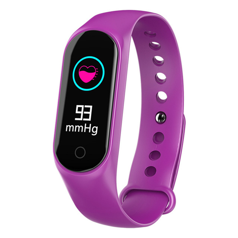 Smart Bracelet Color-screen IP67 Fitness Tracker Blood Pressure Heart Rate Monitor Smart Band for Android IOS Phone purple
