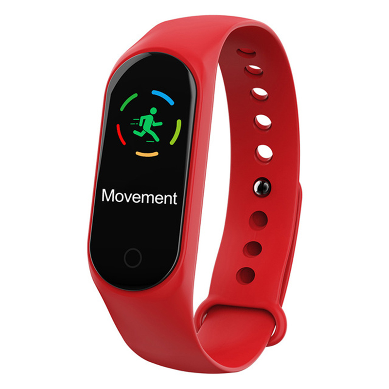 Smart Bracelet Color-screen IP67 Fitness Tracker Blood Pressure Heart Rate Monitor Smart Band for Android IOS Phone red