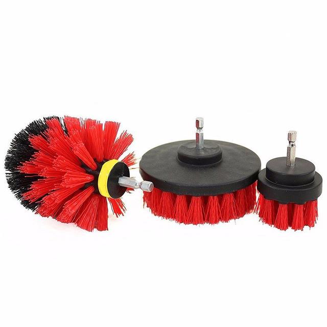 3Pcs/Set Automobile Tire Brush Electric Cleaning Brush Electric Drill Brush Home Cleaning Tool red