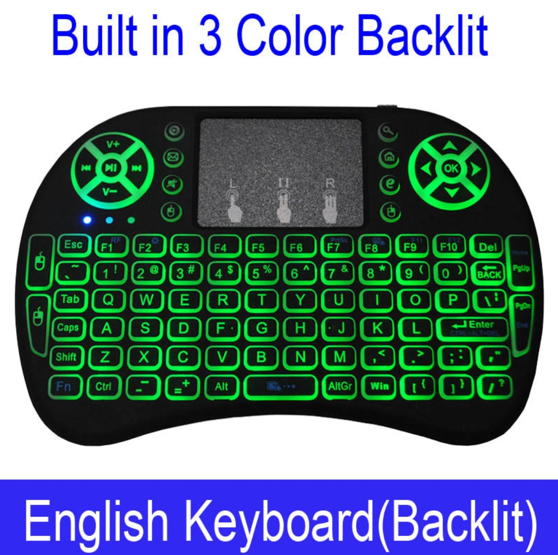 Wireless Keyboard Mini 2.4Ghz Wireless Mini Keyboard with Touchpad for PC Android Smart TV BOX KY English backlight