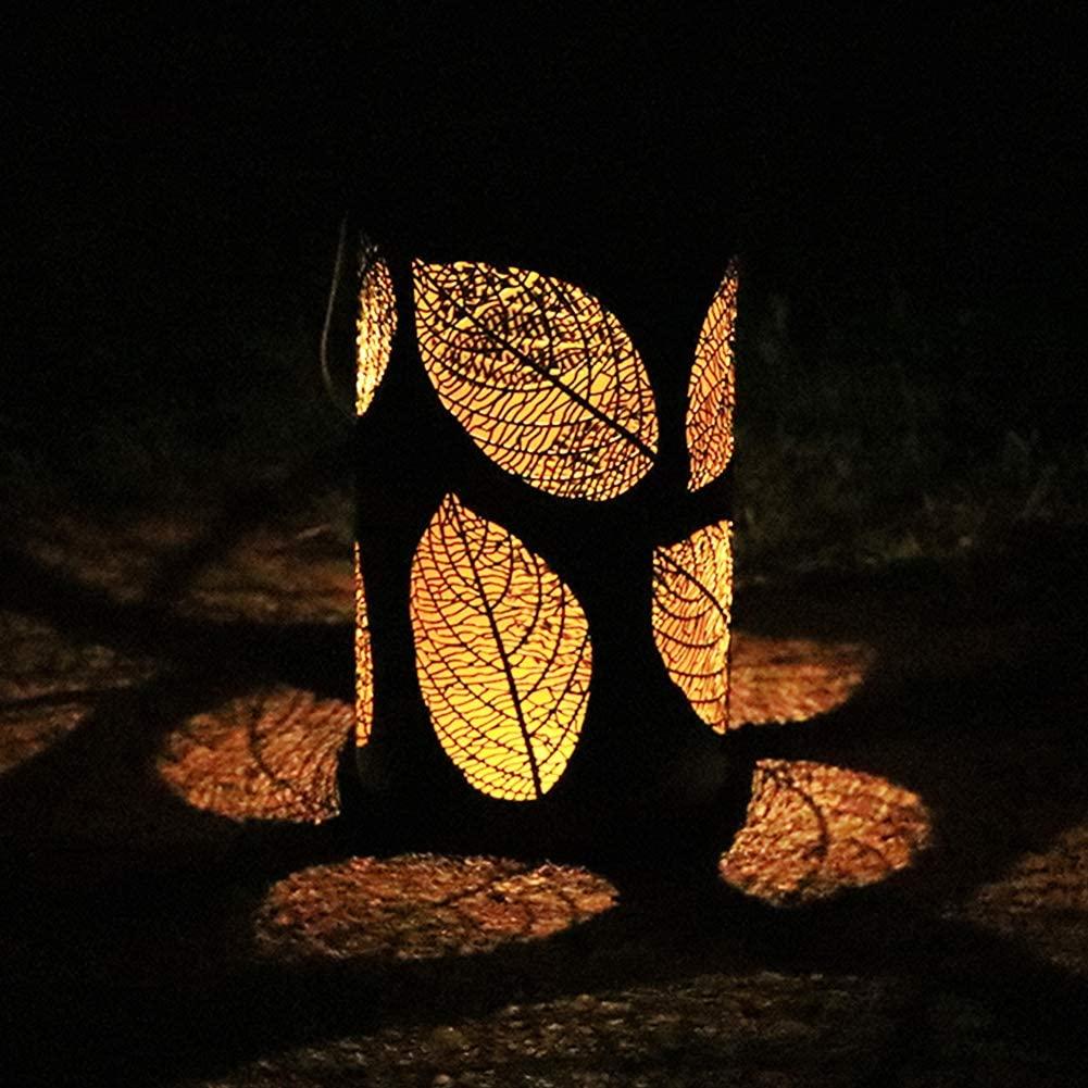 Iron Solar Lamp Hollowed Out Leaf Shadow Lantern Hanging Lighting Outdoor Landscape Light warm light