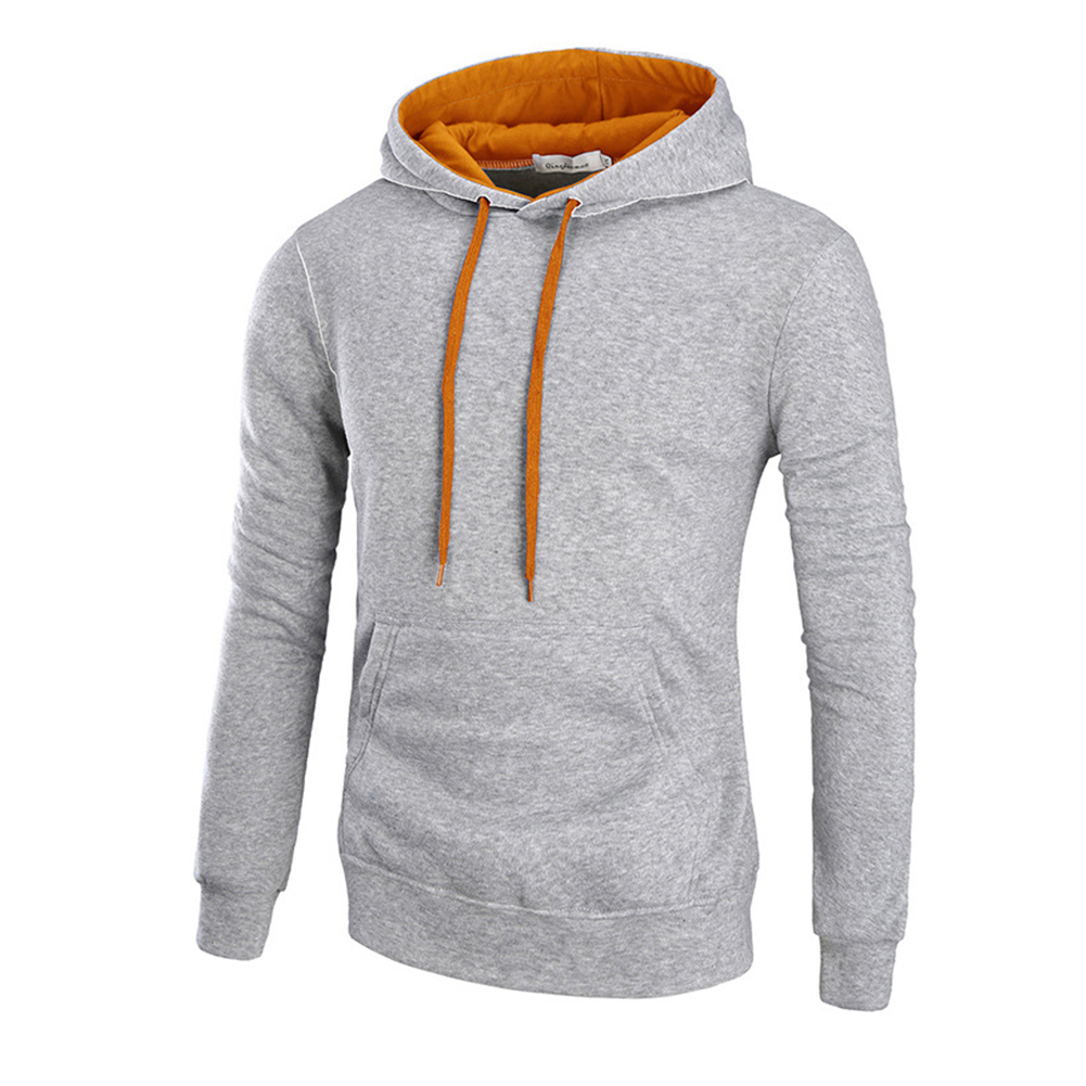 Men Autumn Winter Solid Color Hooded Sweater Hoodie Tops light grey_M