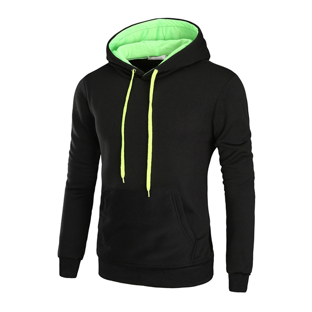 Men Autumn Winter Solid Color Hooded Sweater Hoodie Tops black_2XL