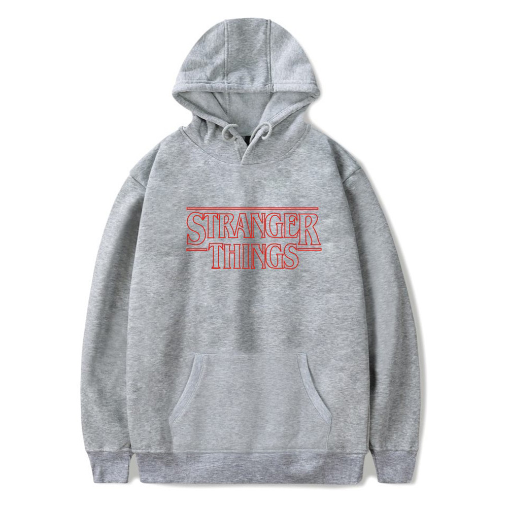 Men Fashion Stranger Things Printing Thickening Casual Pullover Hoodie Tops gray--_L