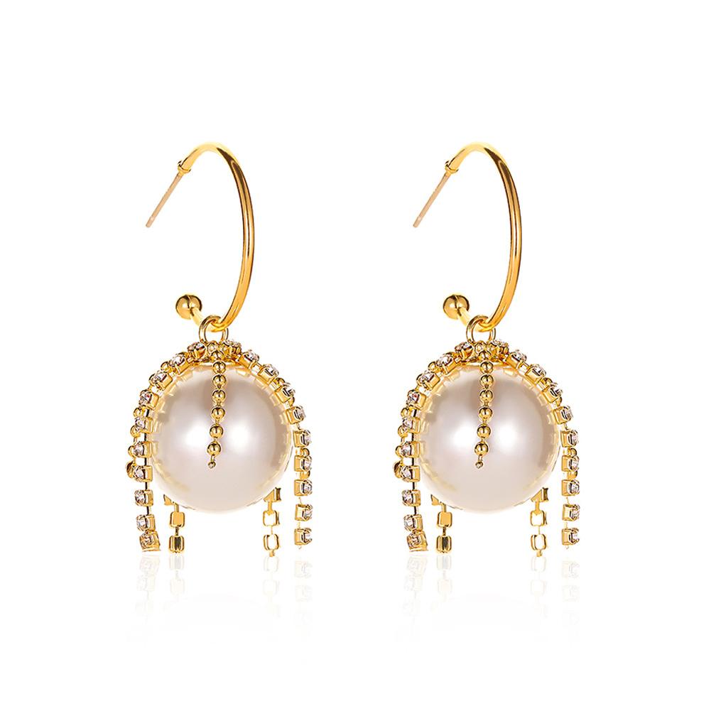 1 Pair of  Women's  Earrings  Alloy  Pearl  Geometry  Tassel  Earrings Golden